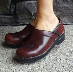 Dansko classic burgundy leather clogs